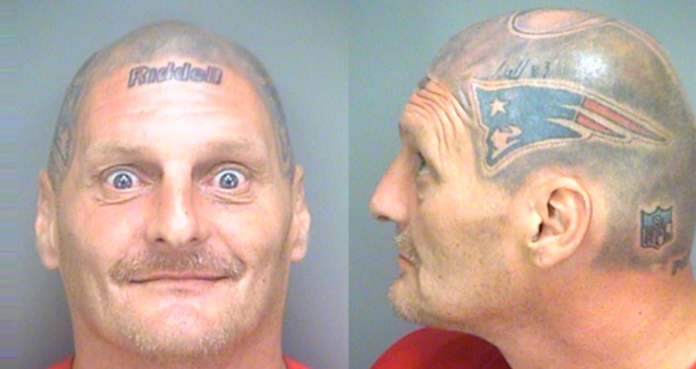 Man With Tom Brady Helmet Tattoo Has Amazing Mugshot | BDCWire