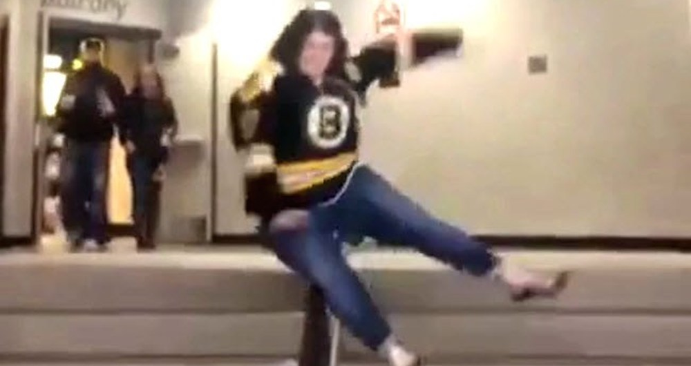 stair fall bruins fan