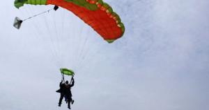 woman skydives