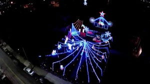 Aerial View of Amazing Christmas Lights in Boston