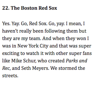 Amy Poehler Red Sox