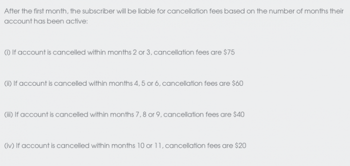 Cancellation Fees