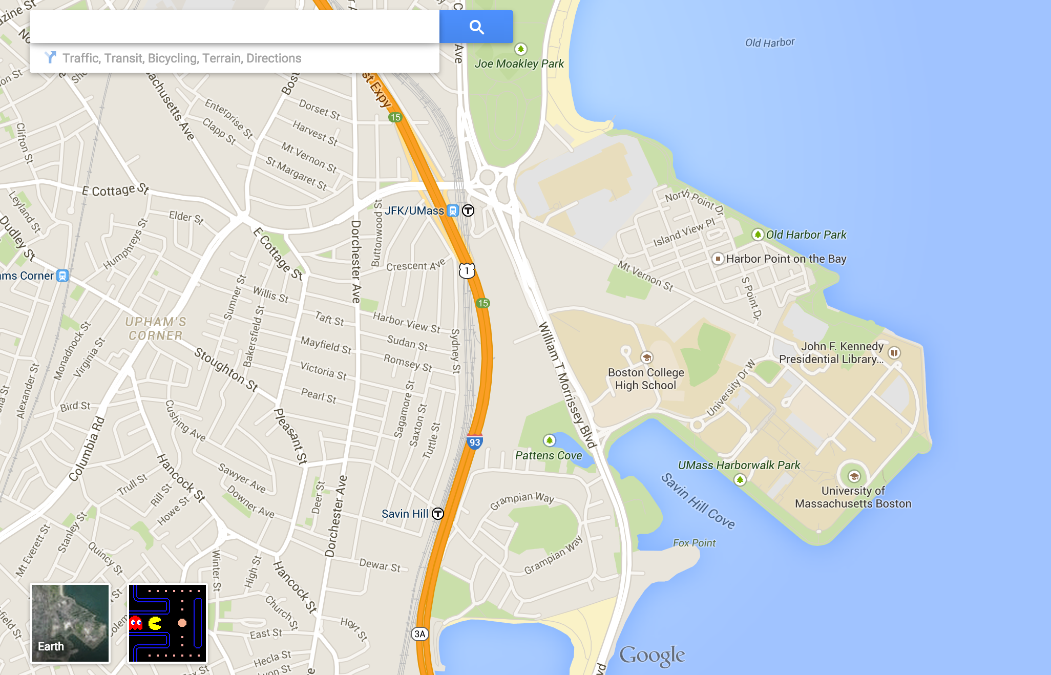you can play pacman in any boston neighborhood on google maps  - screen shot  at  pm