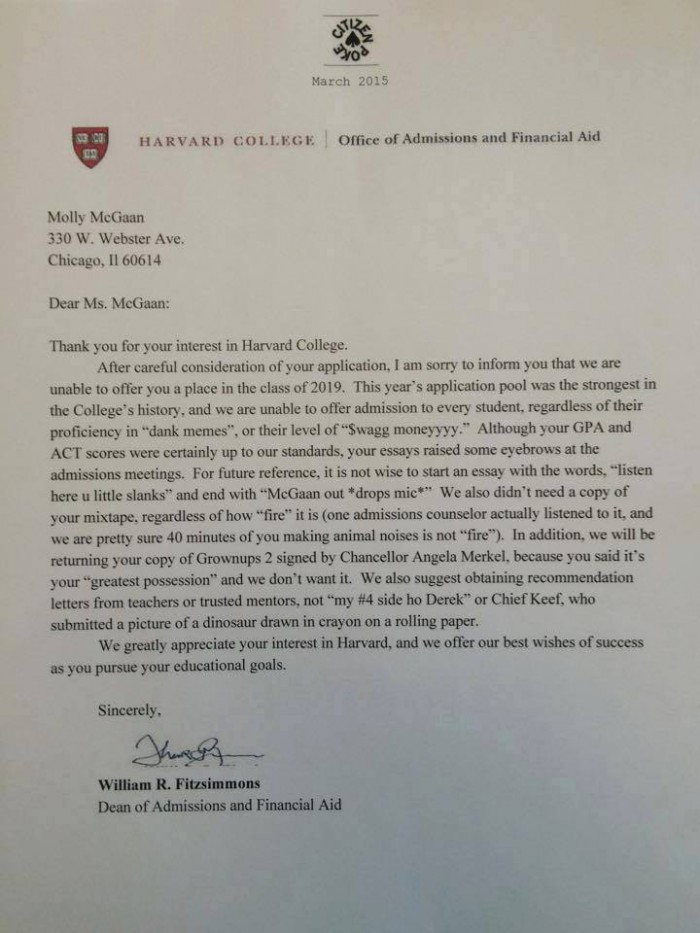 harvard rejection letter full