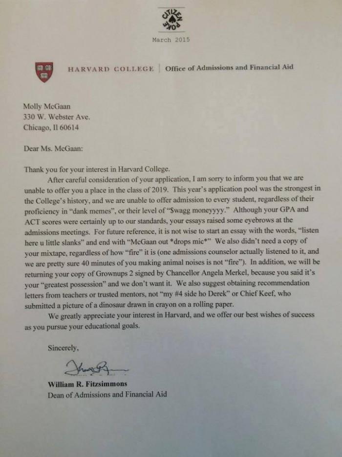 harvard rejection letter full