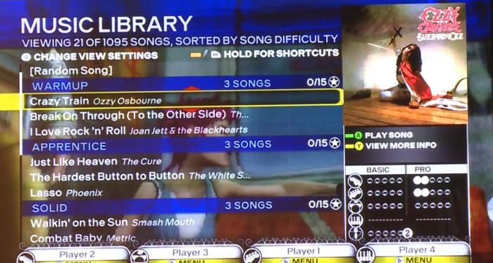 song select screen