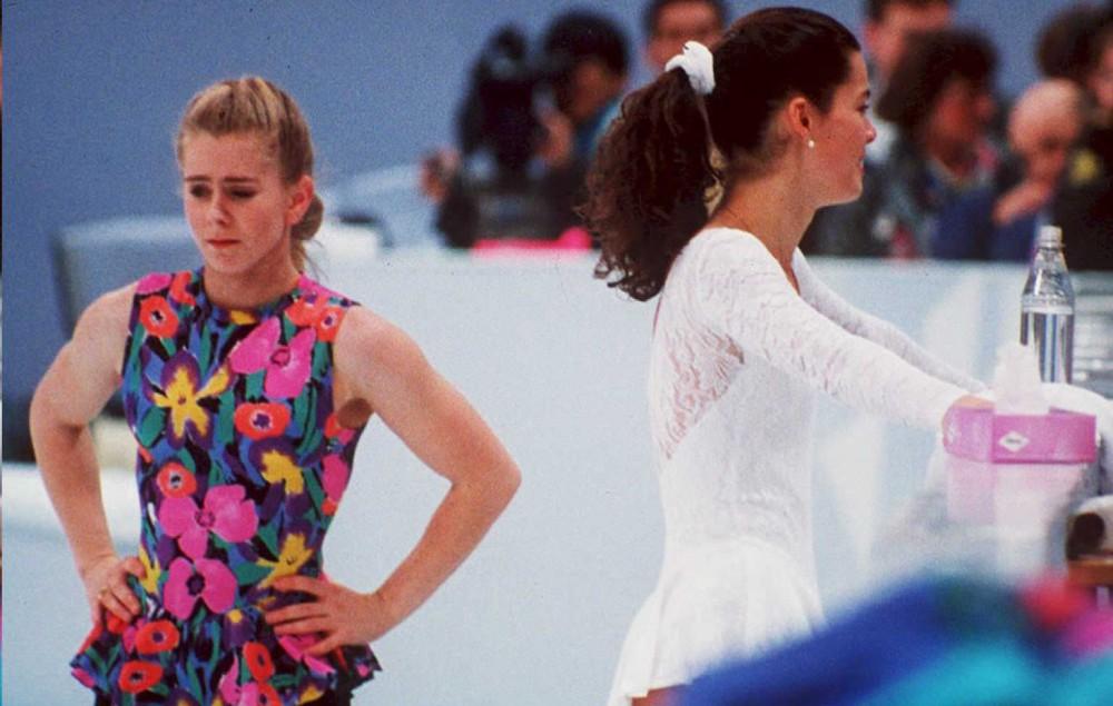 US figure skaters Tonya Harding (L) and Nancy Kerr
