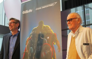 From left: Group president of Gillette Charlie Pierce and comic book legend Stan Lee posed for a photo at Gillette headquarters in South Boston on April, 9.