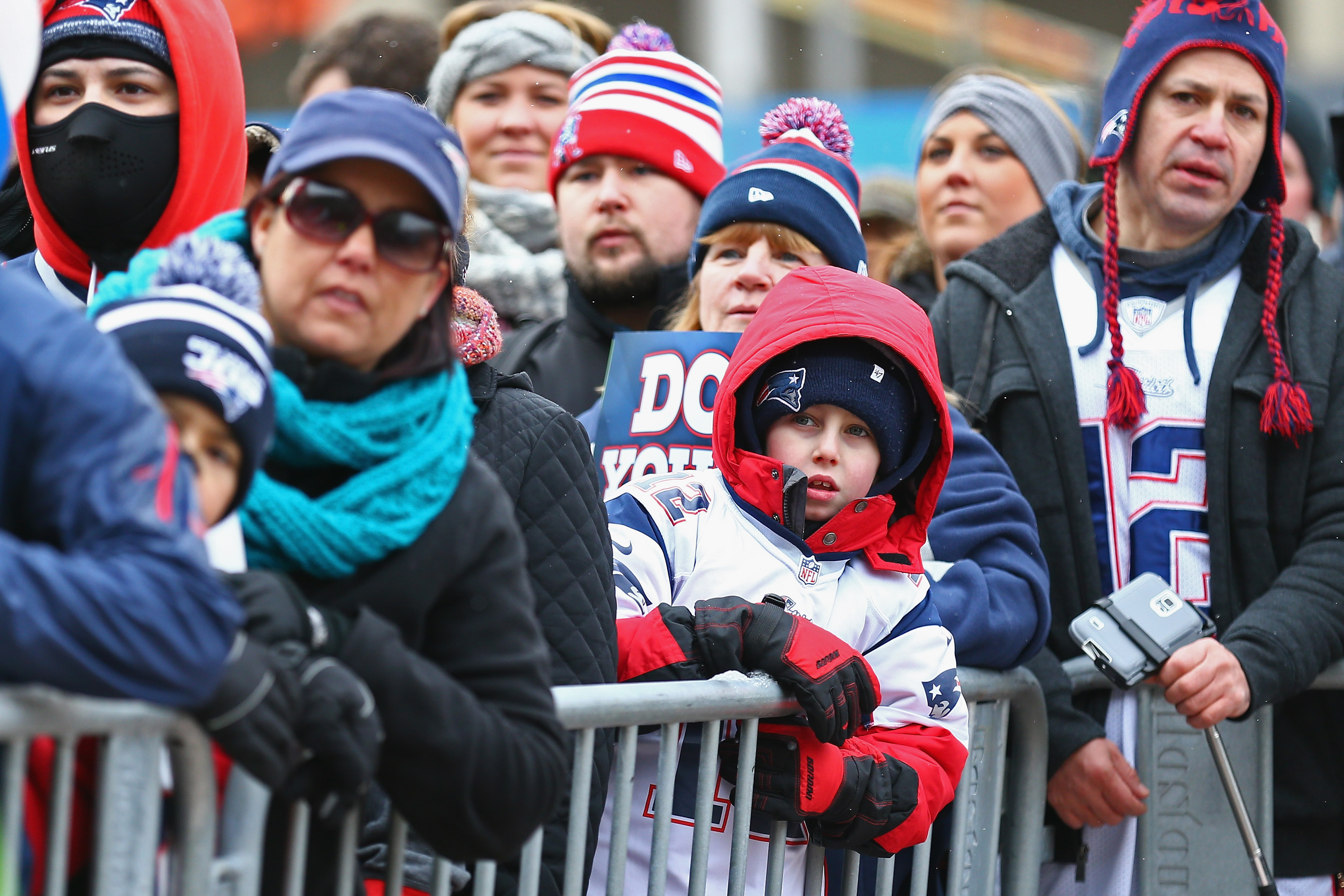 BOSTON, MA - JANUARY 26: Fans attend the New England Patriots Send-Off Rally at City Hall Plaza on January 26, 2015 in Boston, Massachusetts. The Patriots will face the Seattle Seahawks in Superbowl XLIX on Sunday. (Photo by Maddie Meyer/Getty Images)