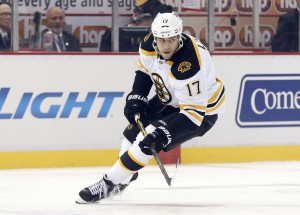 Boston Bruins left wing Milan Lucic (17) skates against the Detroit Red Wings in the first period of a NHL hockey game in Detroit Thursday, Oct. 9, 2014. (AP Photo/Paul Sancya)