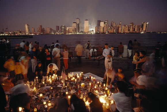 People at a candlelight vigil the night of September 12, 2001