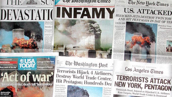 US newspapers headline 12 September, 2001 the terr