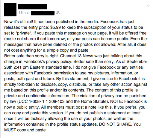 facebook scam screenshot