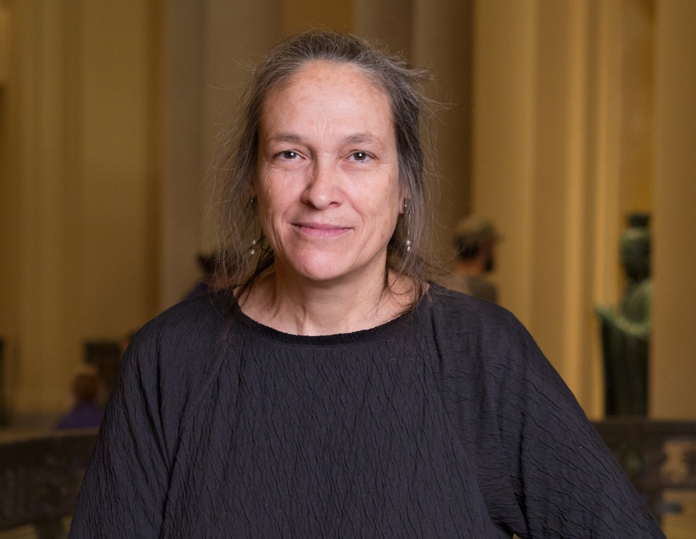Artist Marilyn Arsem, recipient of the Maud Morgan Prize. Ruth and Carl J. Shapiro Rotunda and Colonnade November 25, 2014 *Photograph © Museum of Fine Arts, Boston        --  09Morgan