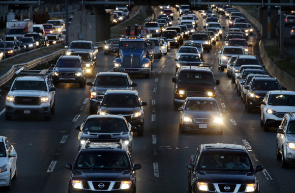 Boston, MA 11/24/2015 – Rush hour traffic on I-93 viewed from Southampton St. in Boston, MA on November 24, 2015. The Tuesday before Thanksgiving is considered the busiest travel day of the year in Boston. (Globe staff photo / Craig F. Walker) section: Business reporter: