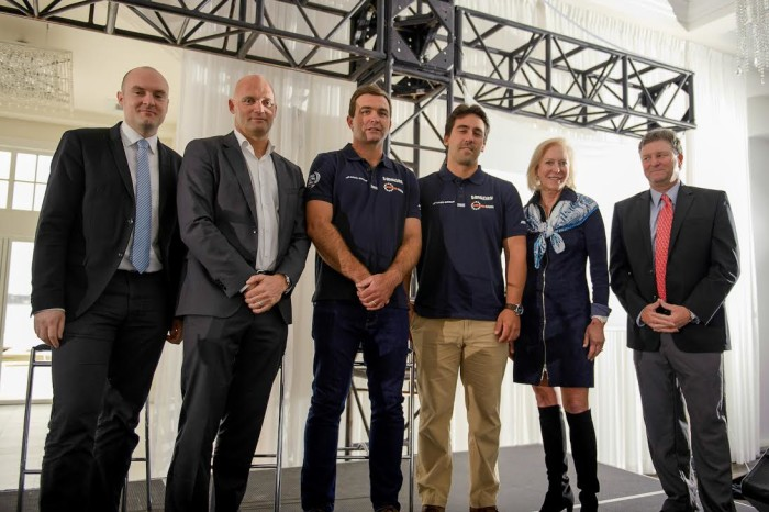 L to R: Morten Dyrholm, Vestas GSVP for Marketing, Communications & Public Affairs; Mark Turner, CEO, Volvo Ocean Race; Charlie Enright, Skipper of Vestas 11th Hour Racing; Mark Towill, Team Director of Vestas 11th Hour Racing; Wendy Schmidt, 11th Hour Racing, President of the Schmidt Family Foundation; Brad Read, Executive Director, Sail Newport.