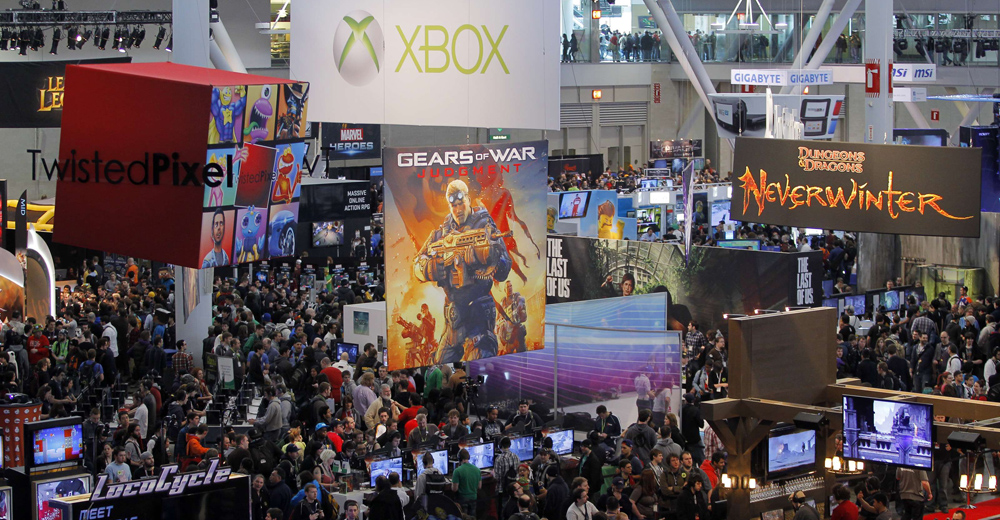 People fill the convention floor at the PAX East gaming convention in Boston