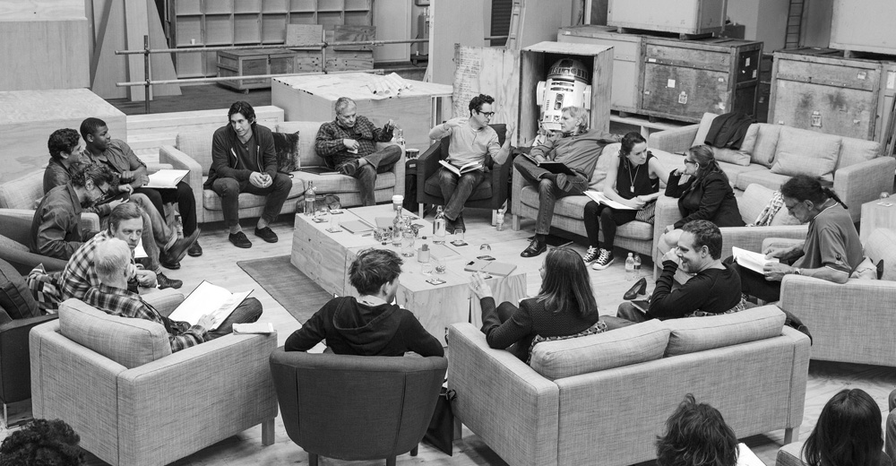 """Publicity photo of cast reading for """"Star Wars: Episode VII"""" in Buckinghamshire"""