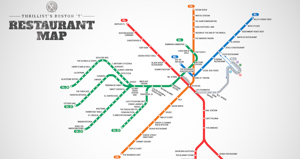 T Map of Restaurants