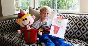 Children Drawing Stuffed Animal
