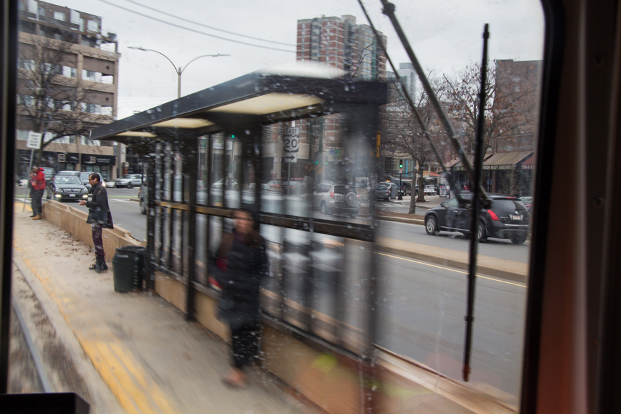 Lione's train pulls into the Griggs Street/Long Avenue Station.