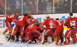 The Terriers skate the length of the ice to celebrate.