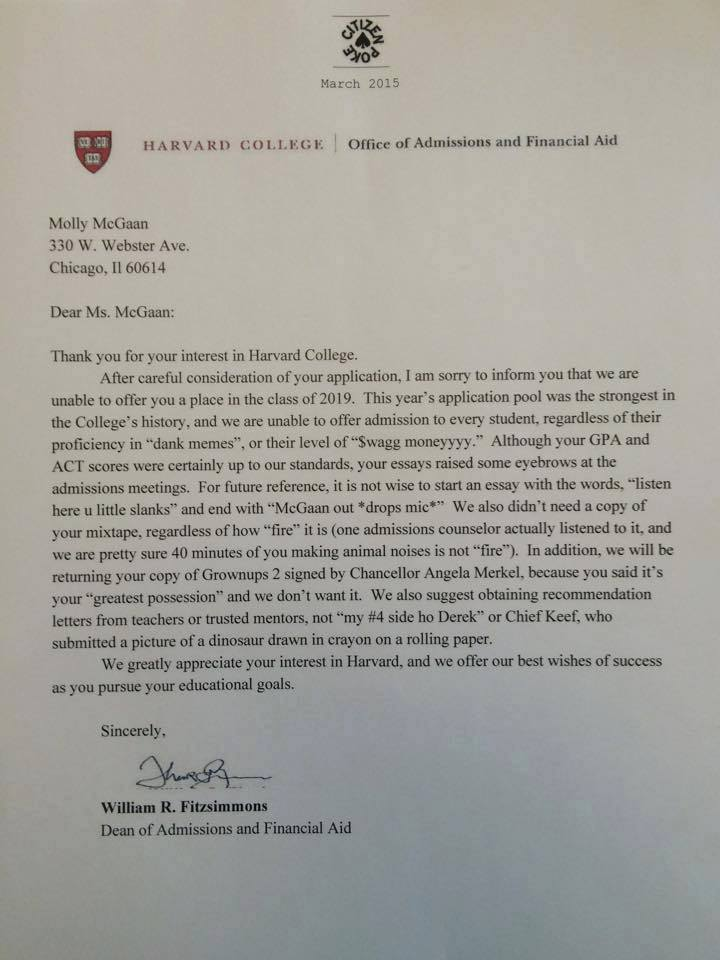Harvard Rejection Letter Has Too Much Swag to Be Real