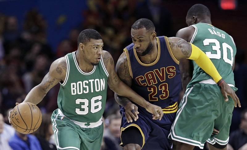 Brandon Bass, Marcus Smart, LeBron James