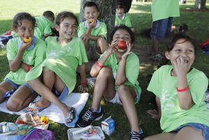 Children in Piers Park for Project Bread