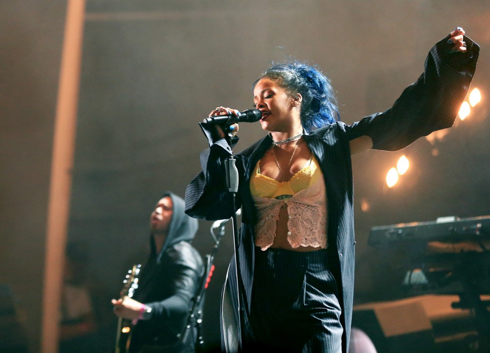 HOLLYWOOD, CA - OCTOBER 24:  Recording artist Rihanna performs onstage during CBS RADIOs third annual We Can Survive, presented by Chrysler, at the Hollywood Bowl on October 24, 2015 in Hollywood, California.  (Photo by Christopher Polk/Getty Images for CBS Radio Inc.)