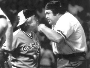 August 1982--Oriole manager Earl Weaver had a difference of opinion with home plate umpire Ken Kaiser in the third inning of last night's second game.  Wearver was irate at ball and strike calls by the umpire, who took exception to the manager's questioning by William Hotz Published 8/4/1982 M and 6/8/1983 M.