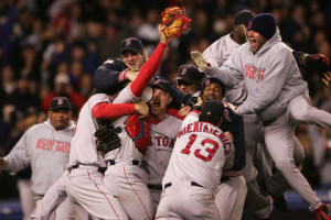 NEW YORK - OCTOBER 20:  The Boston Red Sox celebrate after defeating the New York Yankees 10-3 in game seven of the American League Championship Series on October 20, 2004 at Yankee Stadium in the Bronx borough of New York City. (Photo by Doug Pensinger/Getty Images)